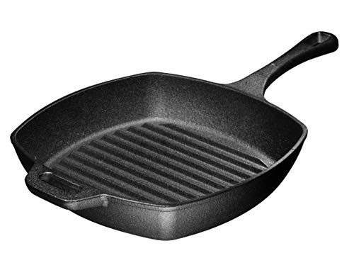 """10"""" Pre-seasoned Square Cast Iron Skillet Grill Pan for Grilling Bacon, Steak, and Meats, Stove, Fire and Oven Safe For Camping and Barbecue"""