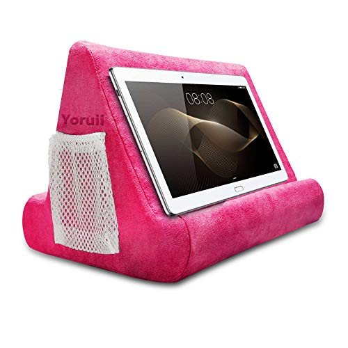 Pillow Stand Soft Bed Pillow Holder Phone Pillow Lap Stand Multi Angle-Soft Tablet Holder Can Suitable for Various Models of Tablets or Mobile Phones (Pink)