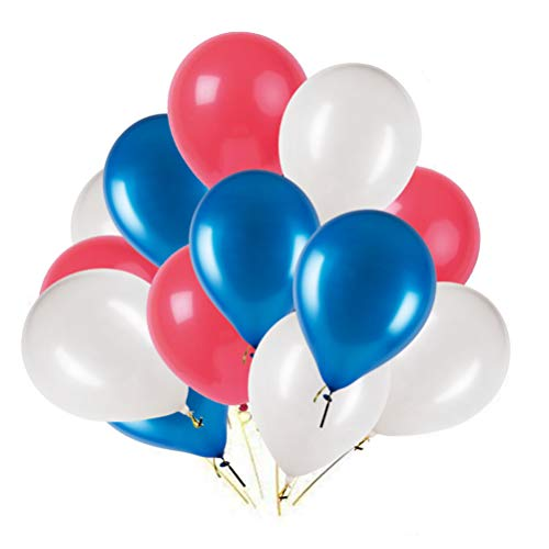 MOWO Red Blue White Latex Balloons, Fourth of July Party Balloons, 12 inches, 3.2g/pcs, Pack of 100