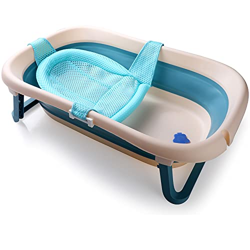 Baby-Badewanne, rutschfest, faltbar, mit Netz, für 0-36 Monate, Blau