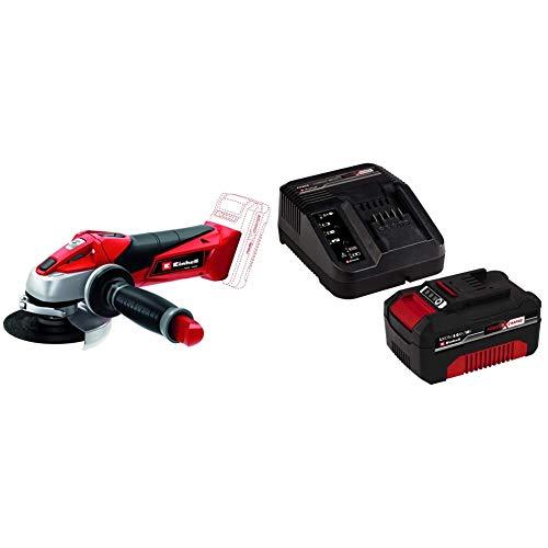 Einhell Expert TE-AG 18 Li Radial angular sin cable, hoja de sierra, 8500 rpm, 18 V, 12 W, color rojo y negro + 4512042 Kit con Cargador y batería 4.0 Ah de repuest, tiempo de carga: 60 Minutos