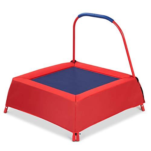 GYMAX Opgewaardeerde Junior Trampoline, Indoor Outdoor Trampolines Speelgoed met Handvat voor Kinderen, Kinderen, Perfect als cadeau