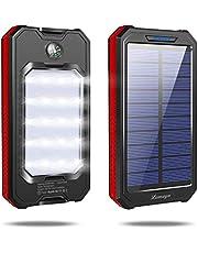 【2019最新版】 大容量 20000mAh モバイルバッテリー ソーラーチャージャー LEDライト付き 3USB出力ポート 携帯充 電器