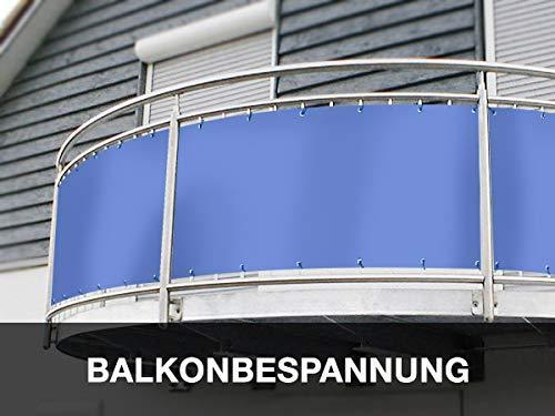 Balkon Sichtschutz (80cm Höhe) - Maßangefertigte Balkonumrandung aus PVC/LKW-Plane | BLICK – und WINDDICHT | Extrem Robust - Verschiedene Farben und Größen (80cm x 580cm, Lichtgrau RAL7035)