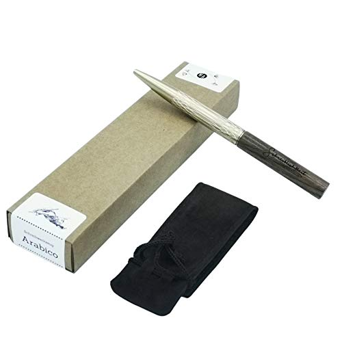 Schreiblichkeit® Schreiber aus Holz und Messing - Tintenroller - Hochwertig & Handgefertigt - Kugelschreiber aus Holz in Samt Etui und Geschenk Box - sehr edles Geschenk (Arabico)