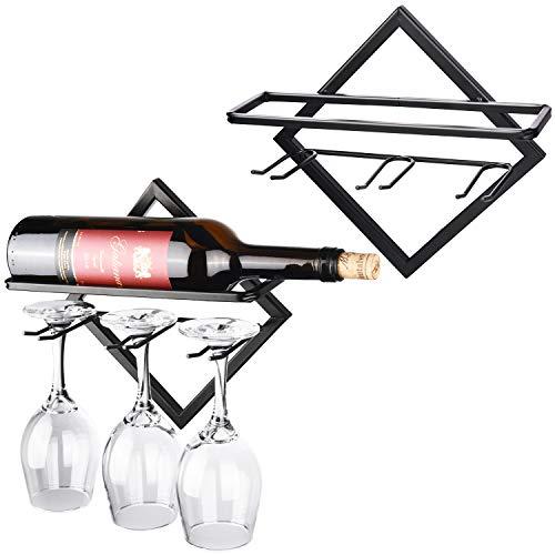 JJDPARTS - Portabottiglie da parete in metallo, per bottiglie di vino e stendibiancheria, porta bottiglie e bicchieri per decorazioni per la casa e la cucina (confezione da 2)