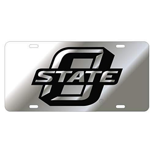 OSU OKLAHOMA STATE COWBOYS Silver Mirrored Auto License Plate Tag