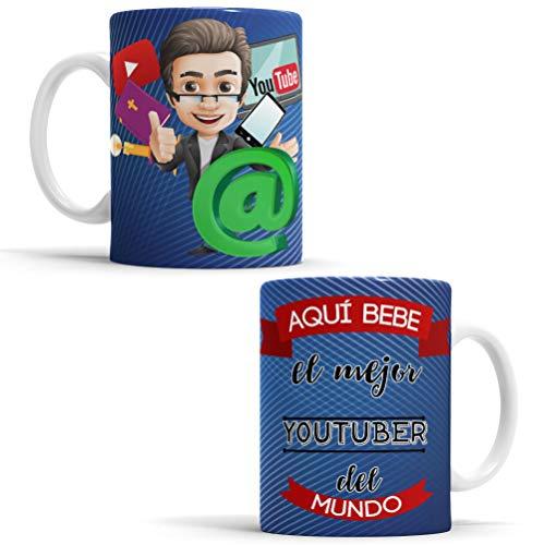 OyC Original y Creativo Taza para Youtuber - Taza Aquí Bebe el Mejor Youtuber del Mundo - Taza para Desayuno - Taza con Frase y Dibujo (Youtuber)