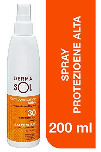 Dermasol Latte Spray Protezione Alta, SPF 30 con Estratti di Fiori d'Arancio - 200 Gr
