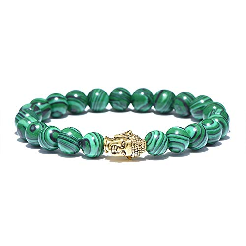 Zozu Noter Green Natural Stone Malachite Beads Bracelet Antique Buddha Elastic Braclet For Men Women Buddhism Meditation Hand Jewelry (Gold)
