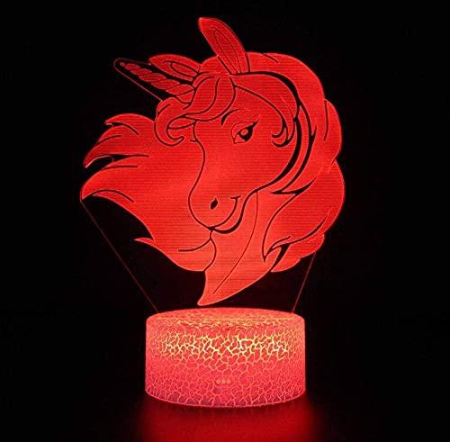 Lámpara 3D Decoración Tabla Lámpara De Escritorio Unicornio 7 Colores Touch Sensor Lámpara Cargador Usb Dormitorio Decoración Regalo De Cumpleaños Para Niños