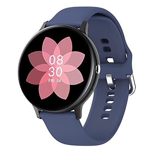 M/S Reloj Inteligente para Hombre con Pantalla Redonda y táctil Completa, Reloj Deportivo para monitorización de Actividad física, Negro, Azul, 44,7 * 11,5 mm