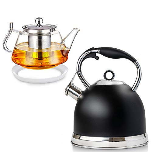 Tea Kettle Best 3 Quart induction Modern Stainless Steel Surgical Whistling Teapot - Pot For Stove Top(Black) and 25 OZ Glass Teapot with Removable Stainless Steel Infuser, Borosilicate Glass Tea