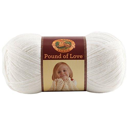Lion Brand Yarn 550-100 Pound of Love Yarn, One Size, White