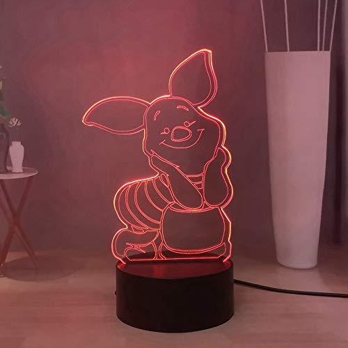 Winnie the Pooh Piglet 3D Luz nocturna LED con 16 colores ajustables, lámpara de escritorio a distancia USB Touch Remote Home Decor, regalo de vacaciones de cumpleaños para niños