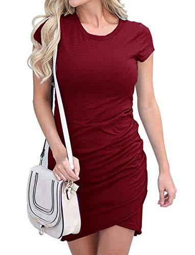 LaLaLa Abito da donna a maniche corte con orlo irregolare, elasticizzato, con increspature Rosso vinaccia L