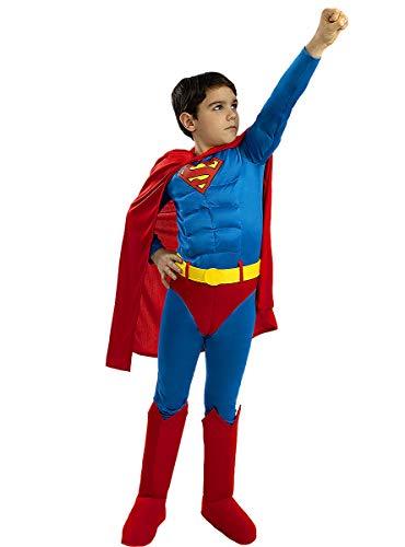 Funidelia | Disfraz de Superman Deluxe Oficial para nio Talla 10-12 aos Hombre de Acero, Superhroes, DC Comics, Justice League - Multicolor