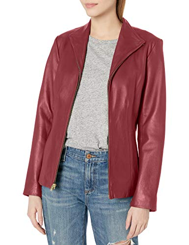 Cole Haan Women's Leather Wing Collared Jacket, Ruby, X-Large