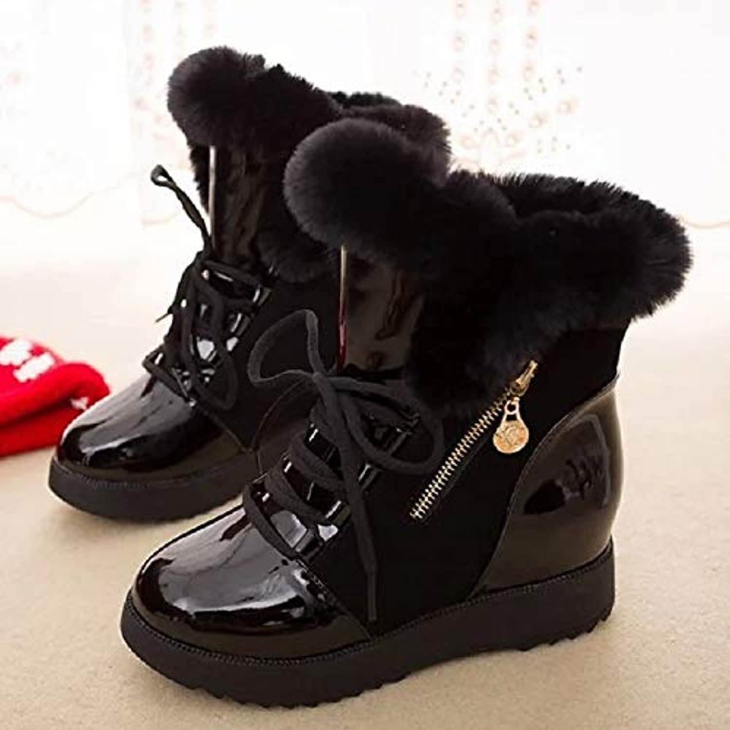 Women's Snow Boots PU(Polyurethane) Fall Casual Boots Wedge Heel Round Toe MidCalf Boots White Black