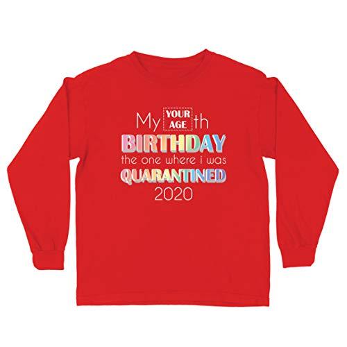 lepni.me Camiseta para Niños Distanciamiento Social 2020 Regalo de Feliz Cumpleaños de Cuarentena Personalizado (14-15 Years Rojo Multicolor)