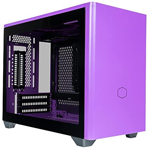 Cooler Master MasterBox NR200P Caja Ordenador Mini ITX, Panel Lateral Cristal Templado, Opciones de Enfriamiento óptimos, Exposición GPU Vertical, Accesibilidad 360 Grados Sin Herramientas, Morado