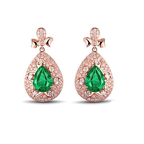 Daesar Pendientes Mujer Oro Rosa 18K,Gota de Agua Esmeralda Verde 1.85ct Diamante 0.98ct,Oro Rosa Verde