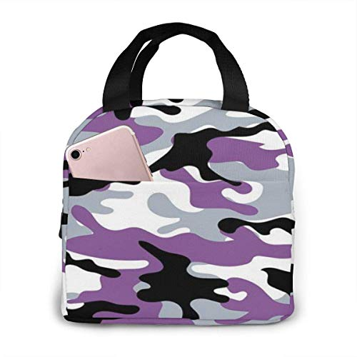 Bolsa de almuerzo con estampado de camuflaje impermeable con cremallera portátil, lavable y reutilizable, adecuada para viajes al aire libre, picnic, escuela, oficina.