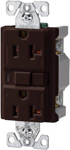 EATON Wiring VGF20B 20-Amp 2-Pole 3-Wire 125-Volt Duplex Ground Fault Circuit Interrupter, Brown