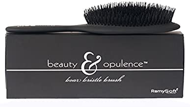 RemySoft Beauty & Opulence Boar Bristle Brush - Safe For Hair Extensions, Weaves and Wigs