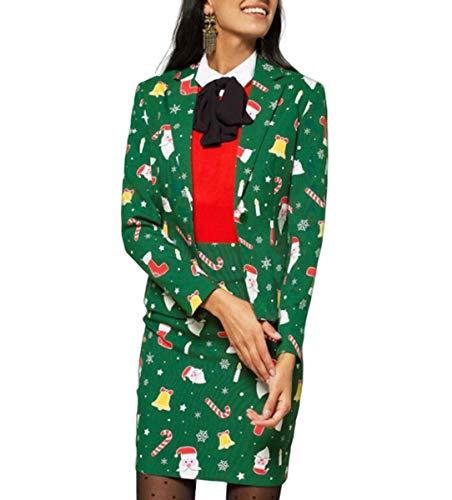 NANXCYR dames-kerstmantel lange mouwen zacht bedrukt klein pak mode pak meisjes
