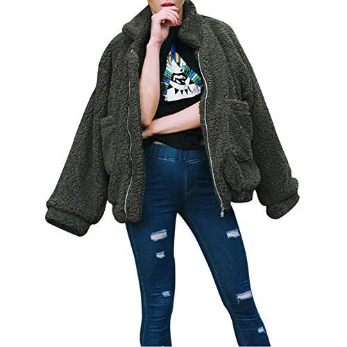 Adeliber Women's Casual Jacket Winter Warm Outwear Ladies Overcoat Shaggy Oversized Coat(Army Green,L)