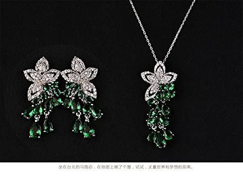 GYUFU Collar de Regalo para Mujer Collar de Circonita Mariposa, Juego de Pendientes con Accesorios Hipoalergénicos Femeninosverde