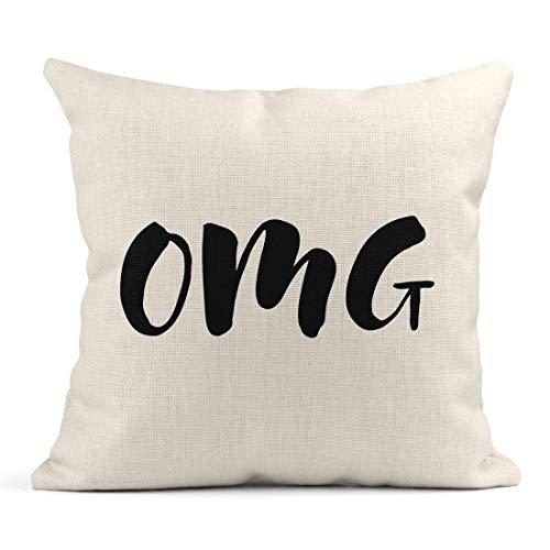 Dekokissen Bunte Abkürzung Handgezeichnete Wort Pinsel Stift Schriftzug Satz OMG Chat Leinen Kissen Home Dekorative Kissen