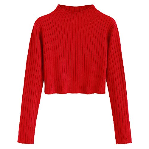 ZAFUL Women's Mock Neck Long Sleeve Ribbed Knit Pullover Crop Sweater (Love Red, L)