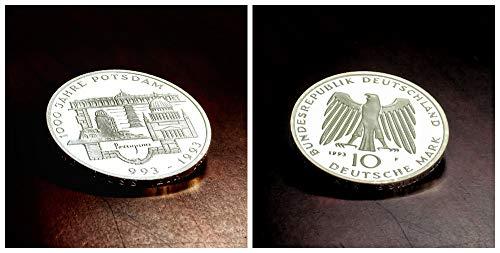 – Deutschland (1993) 10 DM Silbermünze - 1000 Jahre Potsdam, 625er Silber (Spiegelglanz, PP, Proof)
