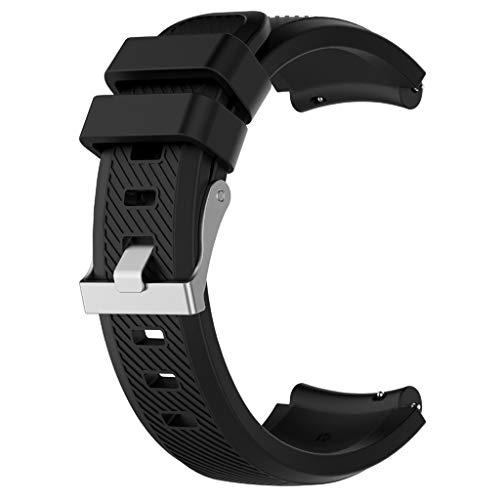 WE-WHLL 22MM Correa de muñeca de Silicona Suave reemplazada Correa de Reloj para XiaoMi-Haylou Solar para Garmin-Vivoactive 4 / Huawei-Watch GT2e 46MM / GT/GT Active Pulsera-Negro