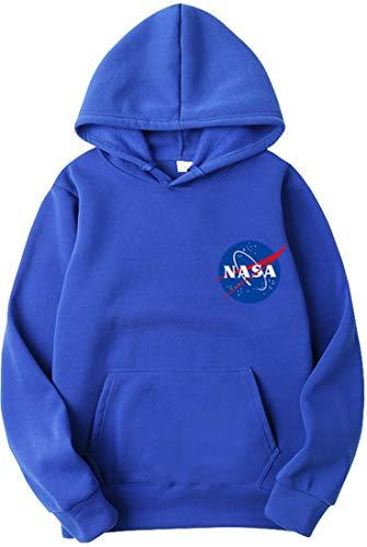OLIPHEE Felpe con Cappuccio Tinta Unita con Logo di NASA Maglione Casuale per Ragazzi e Uomo A-LAN-1 M