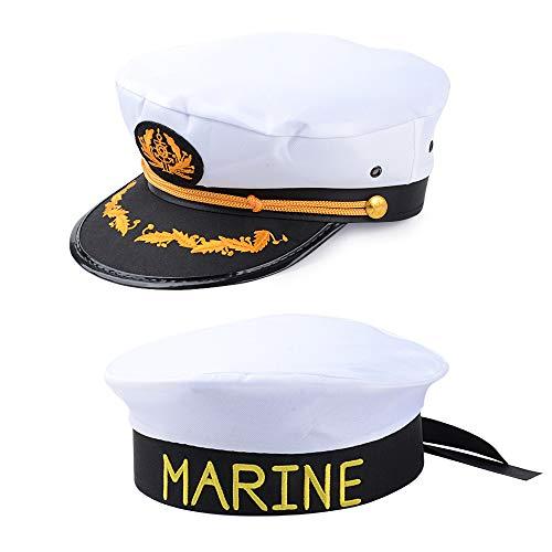 MEJOSER 2 Pezzi Cappello Marinaio Cappellino da Capitano Marina Regalo Accessori per Festa a Tema Compleanno Costume in Maschera Marina Carnevale Halloween