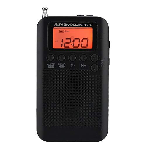 Pocket Tragbares AM / FM-Radio Mini-Radio Digitales 2-Band-Stereo-Tuner-Radio Personal mit Kopfhörer und ICD-Bildschirm mit einem externen Lautsprecher und 3,5-mm-Kopfhörerbuchse (schwarzes Radio)