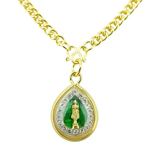 Siwalai Thai Lucky Amulet Birthday – Wednesday – Buddha Amulet Pendant, Gold-Plated Clear Crystal, Chain Necklace and Deluxe Gift Box Included
