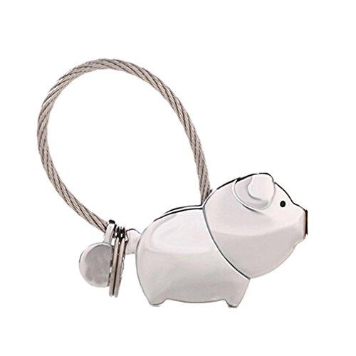 Schlüsselanhänger, Küssendes Schweinchen, für Paare, als Geschenk, Silber (Silber) - 91480