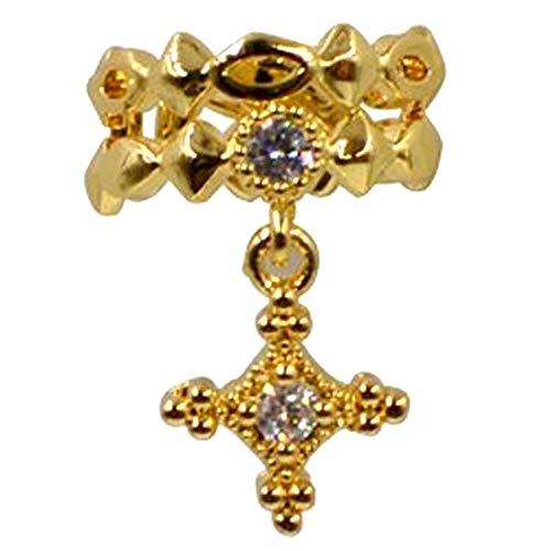 (G)イヤーカフ イヤリング クロス 十字架 チャーム (カラー)ゴールド レディース ジルコニア クリスタル イヤカーフ ノンホールピアス イヤークリップ