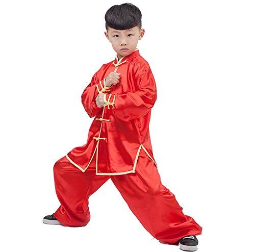 XLYAN Locker Bequem Tai Chi Kleidung Tang Anzüge Kung Fu Martial Arts Uniformen Junge Mädchen Kind Frühling Und Herbst Kung Fu Kostüm,Red-XXS
