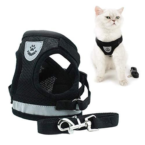 MELARQT Kleine Katze und Hunde Geschirr, Weich Brustgeschirr, Katzengeschirr und Leine Set, Katzengeschirr katzenleine Geschirr, für Katzen kleine Hunde Kaninchen, mit reflektierenden Streifen