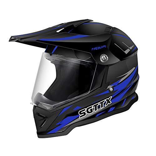 SGTTX Motocross Helme Motorradhelme Motorrad Rennhelme Downhill Integralhelme MX Helme Cross Enduro Quad Mountain Helme ECE für Frauen Männer Erwachsene - Blau XXL (61+CM)