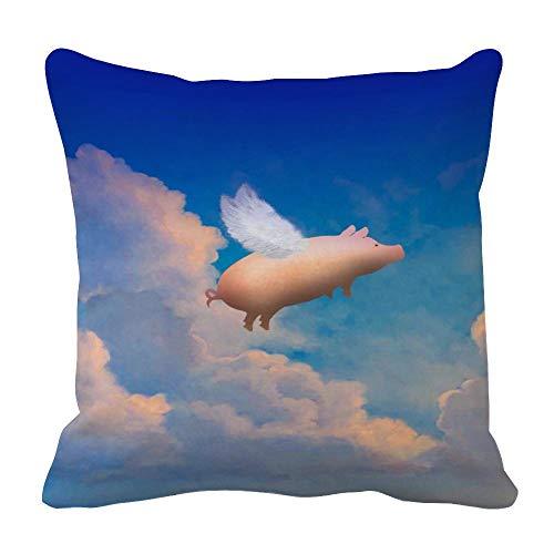 Perfecone Home Improvement - Funda de almohada (algodón, 55 x 55 cm), diseño de cerdo volador