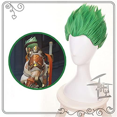 Overwatch Young Genji Ow Corto Verde / Negro Pelucas De Disfraces De Cosplay Pelucas De Pelo Sintético Resistente Al Calor Pelucas De Anime Qx Verde