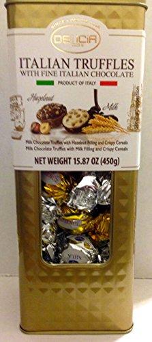 Italian Truffles with Fine Italian Chocolate Hazelnut & Milk 15.87 oz Made in Italy by Delicia
