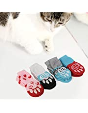 Bonitos calcetines para mascotas con patrón de algodón puro suave para perros y gatos, calcetines dulces para interiores, suministros para mascotas para primavera, otoño, invierno