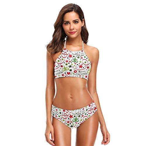 SUGARHE Costumi da Bagno Donna,Abeti Senza Cuciture del Modello di Buon Natale,Bikini per Ragazze Set Split(XL)